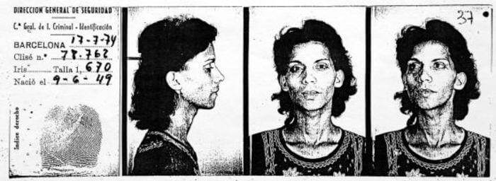 Ficha de Silvia Reyes, procesada y encarcelada en 1974 por la Ley de Peligrosidad Social. Fuente - Asociación de Ex-presos Sociales de España