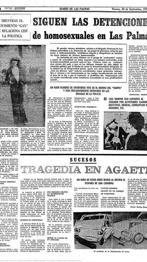 Página de Sucesos del Diario de Las Palmas, años 70